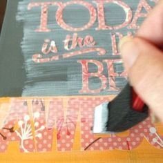 Learn how to add vinyl lettering to canvas | Wonder if I could just print onto contact paper. I don't have a Silhouette.
