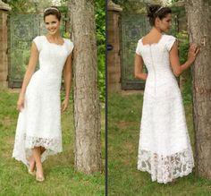 Venda quente Da Colher de chá comprimento lace casual vestido de manga curta vestido de noiva 2014 Branco Marfim Árabe Vestidos de Casamento Do Laço Do Vintage