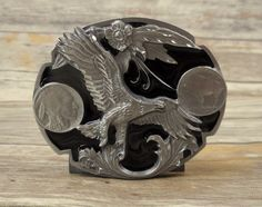 Buffalo Nickel Eagle Belt Buckle 1995 Siskiyou Black Silver Country Western VTG  #Siskiyou #Vintage