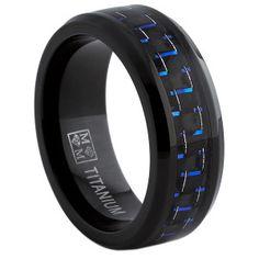 Titan Herren Schwarz Und Blau Kohlefaser Passform Band 8mm | Titanium Wedding Ring