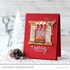 Handmade card from Yoonsun Hur featuring Hand Lettered Holiday stamp set, Wonky Stitched Rectangle STAX and Fireplace Die-namics, and English Brick Wall stencil #mftstamps