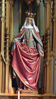 Saint Elisabeth of Hungary - Patron Saints of The Teutonic Order - Deutscher Orden Catholic Art, Catholic Saints, Roman Catholic, Religious Art, Patron Saints, Saint Elizabeth Of Hungary, All Souls Day, All Saints Day, Sacred Art
