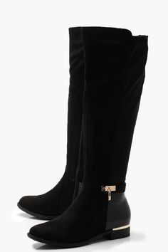 Womens Croc Panel Stretch Back Flat Knee High Boots - black - 5 Sneakers Fashion, Fashion Shoes, Flat Leather Boots, Jelly Sandals, Knee High Boots, High Heels, Latest Shoes, Crocs, Types Of Shoes