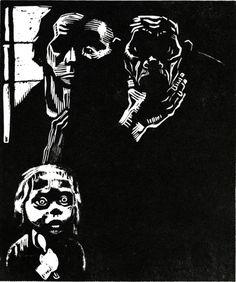 Unemployed - Kathe Kollwitz, 1925. Woodcut.