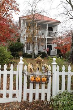 Charleston Historical Victorian Mansion - Charleston Autumn Fall Trees And White Picket Fence Print by Kathy Fornal