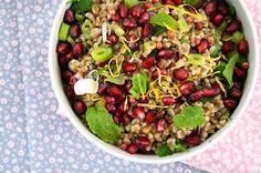 Lækker og nem hvedekernesalat med granatæble og forårsløg samt god smag fra krydderurter - se billeder og få opskriften her