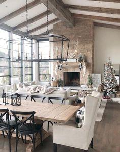 Home Decor Colors, House Colors, Barn Living, Living Room Inspiration, Living Room Decor, Rustic Living Rooms, Neutral Living Rooms, Dining Room, House Design