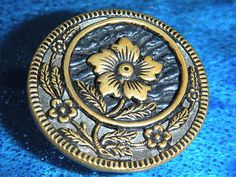 Exceptional Antique Vintage Metal Picture Flower Floral Button Old | eBay