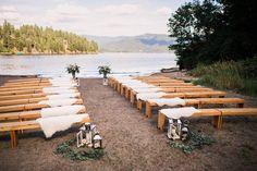 Lakefront Cabin Wedding // Melanie & Casey via Rocky Mountain Bride // lake wedding // ceremony decor // lanterns // @ryanflynnphoto Flower Bar