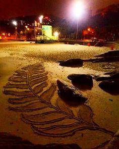Desenho feito na praia de Ipanema Rio de Janeiro nas olimpíadas 2016.