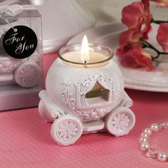 """""""White Wedding Carriage"""" Candle Holder RB7693-RB-Idea: could be done in quilling!"""