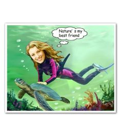 Seabed Swimming Caricature from Photos - This may be the only way I will ever have a chance to swim with an actual sea turtle!