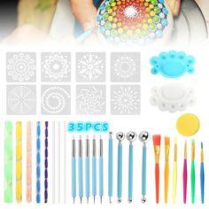 Dot Painting Tools, Dot Art Painting, Stencil Painting, Painting Patterns, Rock Painting, Easy Mandala Drawing, Simple Mandala, Mandala Art Lesson, Mandala Canvas