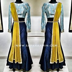 Navy blue mermaid style silk skirt paired with a powder blue brocade top and mustard yellow dupatta.  Outfit on its way to Charlotte NC for the @bollywoodredefined fashion show next weekend !!! Outfit Available for purchase! . . . For more information email dreamsbysapana@gmail.com 📩 . . . #sapanaamin #newstock #fallcollection #loveforfashion #mermaidskirt #indowestern #uniqueindianoutfit #fashionistas #classy #elegant #fashon #fashionshow #usa #northcarolina #bollywood #new #mystyle