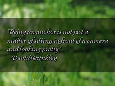Being an anchor is not just a matter of sitting in front of a camera and looking pretty. David Brinkley, Anchor, Pretty, Quotes, Quotations, Qoutes, Quote, Shut Up Quotes, Anchors
