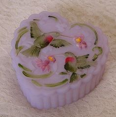 Fenton trinket box   Fenton Glass Lavender Satin Hummingbird Trinket Box