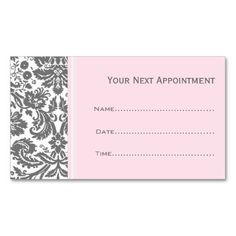 Pink Grey Damask Salon Appointment Cards Business Card Template