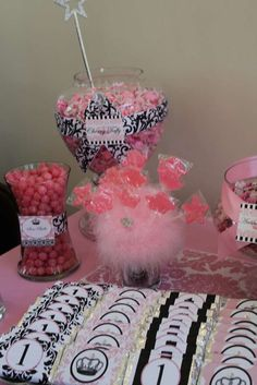 Vintage crown w/ pink damask, feathers & black & white Birthday Party Ideas | Photo 2 of 141 | Catch My Party