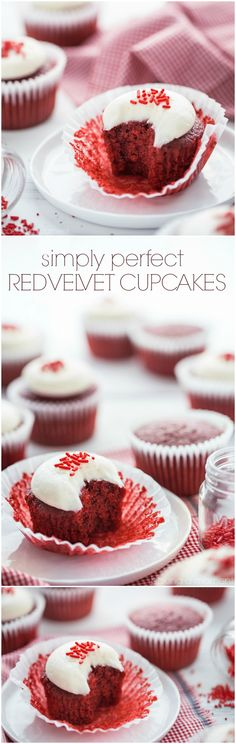 Red Velvet Cupcakes: the BEST recipe I've tried. Moist and soft, with a hint of cocoa and tangy buttermilk. Super simple to make too! food desserts cupcakes via @bakingamoment