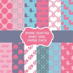 Baby Girl Digital Paper Pack- 23 pages for $3.00, via Etsy.