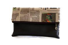 women clutch,wristlet, purse brown & newspaper print fabric ,  wallet. $66.00, via Etsy.