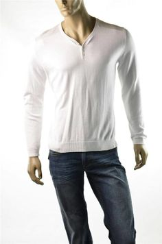 Calvin Klein Sweater Men's Sweaters White Henley NWT Pullover Sz S T-shirt