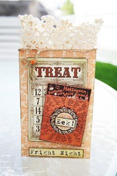 Amy Teets'  Using an Envelope as a gift bag with Halloween Scraps and CD #1 Pattern papers from Crafty Secrets