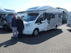 Paul & Jan from Longfield decided to make the switch from Touring Caravan to Motorhome back in February at the Motorhome Show at the NEC.  They are pictured taking delivery of their brand new Chausson 758 Titanium from Shane Catterick at T C Motorhomes in Herne Bay Kent. Garage Lockers, Hideaway Bed, Motorhome, Caravan, Touring, Recreational Vehicles, February, Delivery, Truck Camper