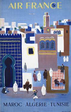 Maroc (Morocco) Algerie (Algeria) Tunisie (Tunisia) - Air France - Vintage Airline Travel Poster by Bernard Villemot retro,poster art, Air France, Party Vintage, Tourism Poster, Airline Travel, Travel Tourism, Morocco Travel, Africa Travel, Vintage Travel Posters, Vintage Airline