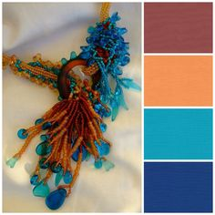 This might be my favorite color combo with Marsala that I've seen. so interesting with that soft tangerine, bright ocean turquoise, and deep blue! Colour Schemes, Color Combos, Colour Palettes, Beading Patterns, Color Patterns, 2015 Color Trends, Tie Dye Colors, Color Harmony, Design Seeds