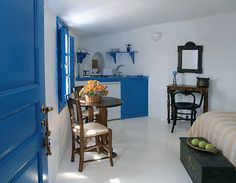 """Studios, or """"cave houses,"""" at Esperas Hotel have a kitchenette, balcony and open-plan bedroom. Santorini Hotels, Creative Home, Open Plan, My Dream Home, Greece, House Design, Cave Houses, Inspiration, Furniture"""
