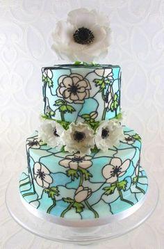 Tutorial - Stained Glass Effect Cake - by TashasTastyTreats @ CakesDecor.com - cake decorating website