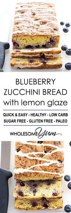 Blueberry Zucchini Bread Recipe with Lemon Glaze (Low Carb, Gluten-free)