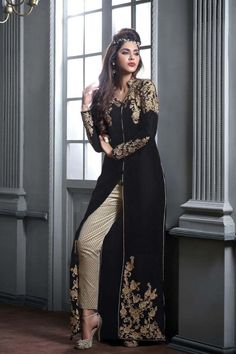 Black Georgette Latest Designer Salwar Kameez with Dupatta