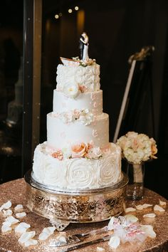 """Rental-18"""" Silver Plated Cake Riser/Plateau on our Gold Glitz Tablecloth- Rental"""