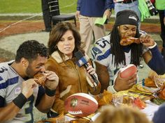 Wilson and Sherman eat turkey on the 49ers logo! Images as the Seahawks beat the 49ers at Levi's Stadium. Thanksgiving 2014.