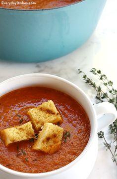 Dairy-free roasted tomato basil soup recipe video