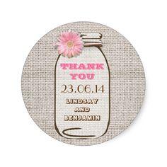 Rustic Burlap Mason Jar Pink Gerbera Wedding Classic Round Sticker