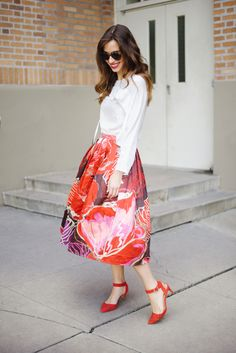 Feminine white blouse with bright floral print skirt and red heels on M Loves M Los Angeles fashion blogger @Mara Ferreira