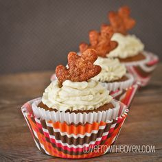 Pumpkin Pie Cupcakes - made these for Megan.  Frosted with Whipped Cream Cheese Frosting and topped with a red hot.  They are good!