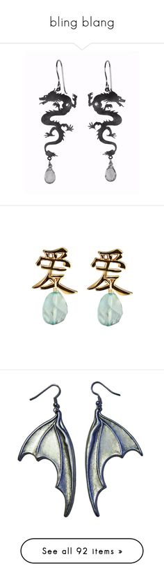 """""""bling blang"""" by hothotdad ❤ liked on Polyvore featuring earrings, jewelry, accessories, earring pendants, aquamarine earrings, 18k jewelry, pendant jewelry, stone jewelry, steampunk and dragon"""