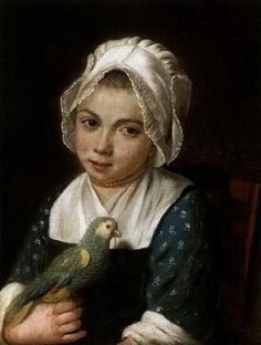 Young girl holding a green parrot, Attributed to Antoine Raspal (French, 1738 - 1811)