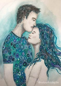Klimt inspired drawing of a couple with inktense pencils.