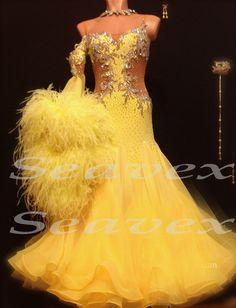 Ballroom Feather Yellow Standard  Waltz Tango Prom US10 Dance Dress #B2878