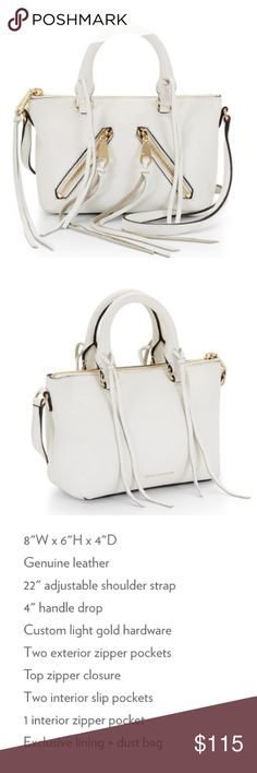 Rebecca Minkoff Micro Moto Satchel Brand new Micro Moto Satchel in white with gold hardware. Minor scratches on front zipper, no other flaws. Dust bag included as well as extra tassel leather. Open to all reasonable offers! Rebecca Minkoff Bags Satchels