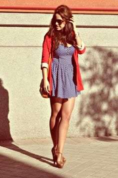 Cute polk-a-dot dress and nude strappy heels.I have a dress like this one but it's longer.