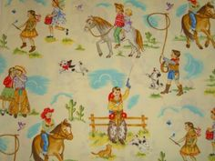 cute cowboy fabric on ebay