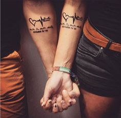 40 Unique and Matching Couple Tattoo Designs - OutfitCafe - Matching Couple Tat. - Tattoos For Women Small Unique Body Art Tattoos, Hand Tattoos, I Tattoo, Sleeve Tattoos, Cool Tattoos, Tattoo Quotes, Lucky Tattoo, Amazing Tattoos, Marriage Tattoos