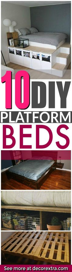DIY platform beds with storage, platform bed DIY projects, DIY ideas – Toptrendpin Bedroom Bed, Kids Bedroom, Diy Bedroom Decor, Diy Home Decor, Decor Room, Diy Bedroom Projects, Wood Bedroom, Trendy Bedroom, Bedroom Colors