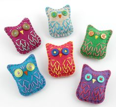 Wholesale Lot of 8 Eco Felt Owl Brooches Button Pin Party Favors Gifts Cute Embroidery. $48.00, via Etsy.
